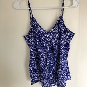 J crew blue and white camisole with ruffle